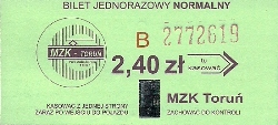 The ticket printed MZK Torun and the holographic mark entitles to travel by public transport of MZK Torun