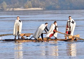 Teutonic Knights crossing Vistula river from Nieszawa (Kuiavia) to the Chełmno Land in 1231 to establish their first fortified base - Toruń. Reconstruction staging to commemorate the 775th anniversary of Toruń city rights.