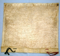 The renewal of Toruń and Chełmno Founding Act, dated October 1st 1251, State Archives in Toruń. The original Act of December 28th 1233 (probably burnt in 1244), represented a model for further locations on the basis of the so-called Chełmno Law.