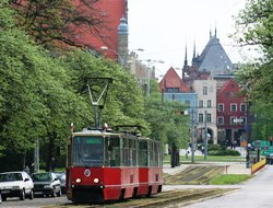 Typical Torun tram consist of 2 carriages.