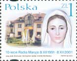 Polish stamp commemorating the 10th anniversary of Torun radio station Radio Maryja, 2001