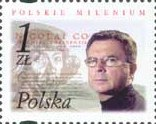 Polish stamp with the Torun themes: Aleksander Wolszczan and Nicoalus Copernicus, Polish famous astronomers, 2001. The stamp is one of sixteen in a series of Polish Millennium