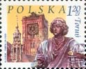 Polish stamp with the Torun themes: Old City Town Hall and Copernicus Monument, 2003