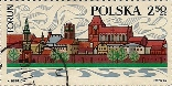Polish stamp with Torun theme: River Vistula panorama of Torun Old Quarter, 1969. The stamp is one of eight in a series of Tourism.