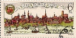 Polish stamp with Torun theme: Historical River Vistula Old Quarter panorama of Torun, 1983. The stamp was issued to commemorate the 750th anniversary of Torun city rights